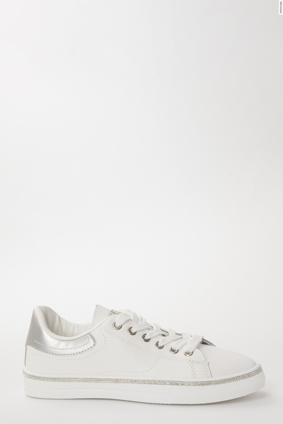 White & Silver Embellished Trainers